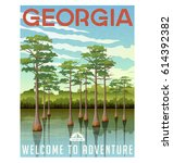 georgia travel poster or... | Shutterstock .eps vector #614392382
