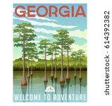 georgia travel poster or... | Shutterstock .eps vector #614392382