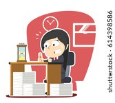 businesswoman panic with lot of ... | Shutterstock . vector #614398586