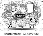 hipster hand drawn crazy doodle ... | Shutterstock .eps vector #614399732