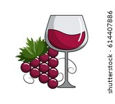 glass of wine and grape fruit... | Shutterstock .eps vector #614407886