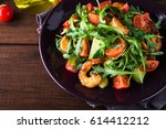fresh salad plate with shrimp ... | Shutterstock . vector #614412212