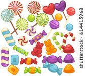 candy and caramel sweets vector ... | Shutterstock .eps vector #614415968