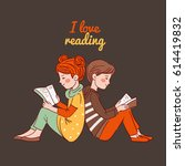cute boy and girl reading books  | Shutterstock .eps vector #614419832