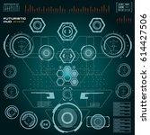 futuristic blue virtual graphic ... | Shutterstock .eps vector #614427506