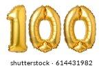 number 100 of golden balloons... | Shutterstock . vector #614431982