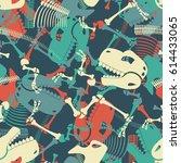 skeleton dinosaur seamless... | Shutterstock .eps vector #614433065
