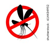 stop mosquito. red prohibition... | Shutterstock .eps vector #614434952