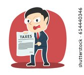 angry businessman showing tax... | Shutterstock .eps vector #614440346