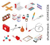 medical color icons isometric... | Shutterstock .eps vector #614441336