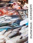 box full of freshly caught... | Shutterstock . vector #614442695