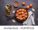 meatballs with tomato sauce in... | Shutterstock . vector #614450126