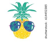 pineapple with glasses   vector ... | Shutterstock .eps vector #614452385