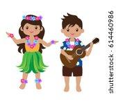 hawaiian teens luau   Shutterstock .eps vector #614460986