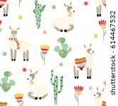seamless pattern with alpaca  ... | Shutterstock .eps vector #614467532