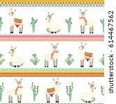 seamless pattern with lama and... | Shutterstock .eps vector #614467562