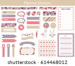 planner stickers with cute hare ... | Shutterstock .eps vector #614468012