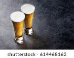 Lager Beer Glasses On Stone...