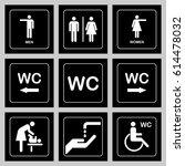 wc   toilet door plate icons... | Shutterstock . vector #614478032