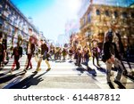 crowd of anonymous people... | Shutterstock . vector #614487812