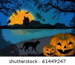 halloween night background with ... | Shutterstock .eps vector #61449247