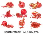 set of pomegranates isolated... | Shutterstock . vector #614502596