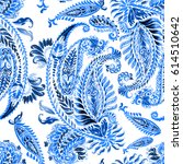 paisley pattern ethnic seamless ... | Shutterstock . vector #614510642