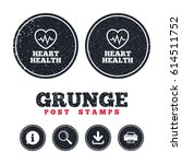 grunge post stamps. heartbeat... | Shutterstock .eps vector #614511752