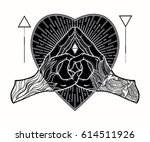 heart shape gesture with a... | Shutterstock .eps vector #614511926