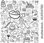gray cooking hand drawn icon... | Shutterstock .eps vector #614514782