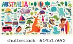 illustration with australia... | Shutterstock .eps vector #614517692