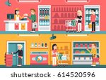 shopping people and counter in... | Shutterstock .eps vector #614520596