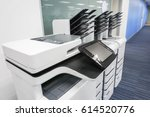close up office printers set up ... | Shutterstock . vector #614520776