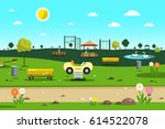 empty park   playground    city ... | Shutterstock .eps vector #614522078