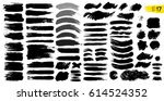 Big collection of black paint, ink brush strokes, brushes, lines. Dirty artistic design elements, boxes, frames. Vector illustration. Isolated on white background. Freehand drawing.