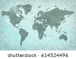 world on grainy plaster... | Shutterstock . vector #614524496