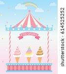 ice cream circus booth on rainy ...   Shutterstock .eps vector #614525252