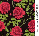 Dark Seamless Pattern With Red...