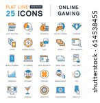set  line icons with open path... | Shutterstock . vector #614538455