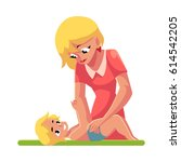 young mother changing her baby... | Shutterstock .eps vector #614542205