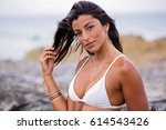 beautiful  attractive young...   Shutterstock . vector #614543426