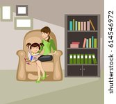 mother read book to child | Shutterstock .eps vector #614546972