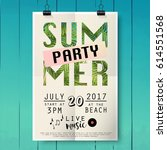 summer party poster with palm... | Shutterstock .eps vector #614551568