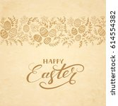 brown floral elements with eggs ... | Shutterstock . vector #614554382