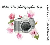 watercolor photographer logo... | Shutterstock . vector #614554955