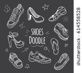 boots doodle collection. set of ... | Shutterstock . vector #614558528