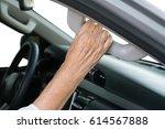 elderly woman on car   Shutterstock . vector #614567888
