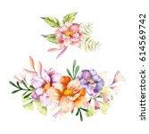 hand drawn watercolor flowers... | Shutterstock . vector #614569742