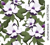 floral pattern with magnolia... | Shutterstock .eps vector #614570906