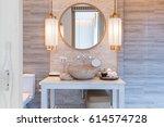 interior of bathroom with... | Shutterstock . vector #614574728